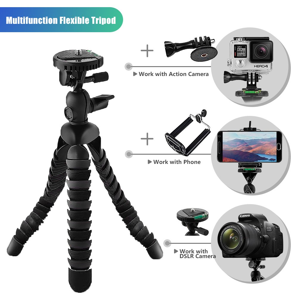 BlueWind 12-inch Flexible Tripod with Gopro Mount Adapter iPhone Clip Mount Tripod Adaptor Octopus Travel Tripod Holder for GoPro Hero 5/4 Apeman AKASO Action Camera/Smart Phone/Digital Camera Black