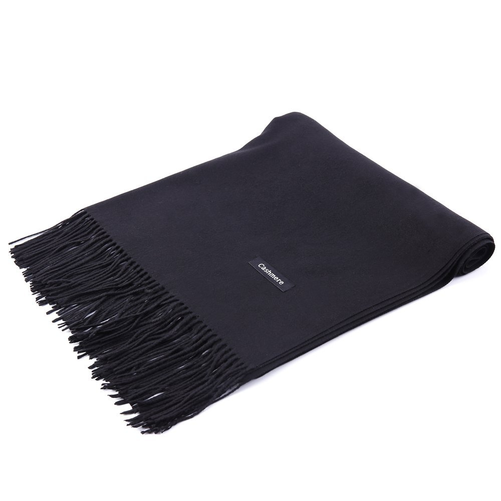 Womens Pashmina Shawl Wrap Scarf - Ohayomi Solid Color Cashmere Stole Extra Large 78''x28'' (Black) by OHAYOMI (Image #5)