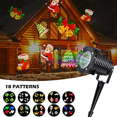 200 Mw Green Laser (Fedpop LED Long Distance Projection 10 Patterns Slides Laser Lamp Waterproof Lights Christmas Decorations Outdoor Indoor Garden Yard Pathway Party Home Lamp)