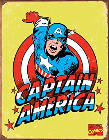 Captain America Comic Distressed Retro Vintage Tin Sign