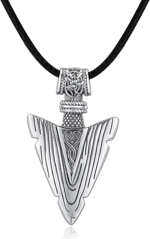 Collar de cuero para hombre, plata de ley 925 con colgante de flecha, cadena ajustable, regalo vikingo, regalo para hombres, cumpleaños, Navidad, para hombres, novio, hermano, etc.