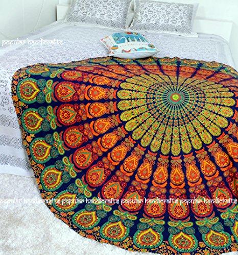 Popular Handicrafts Popular Round Tapestry Indian Mandala Round Roundie Beach Throw Tapestry Hippy Boho Gypsy Cotton Tablecloth Beach Towel, Round Yoga Mat