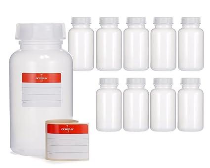 10 x 500 ml botellas de boca ancha de LDPE con cierre de rosca, botella