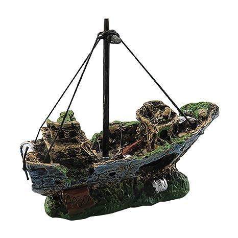 DAYOLY decoración de Acuario para pecera – Resina Barco de Pesca Adorno de Acuario plástico Planta