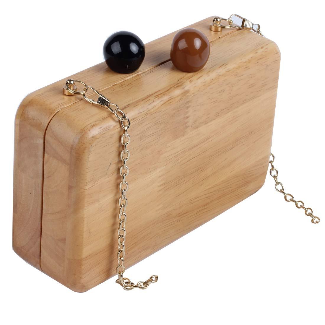 ویکالا · خرید  اصل اورجینال · خرید از آمازون · LETODE Wooden Evening Bag Wood Clutch Purse for Women Handbag shoulder Bag with Metal Chain (WOOD) wekala · ویکالا