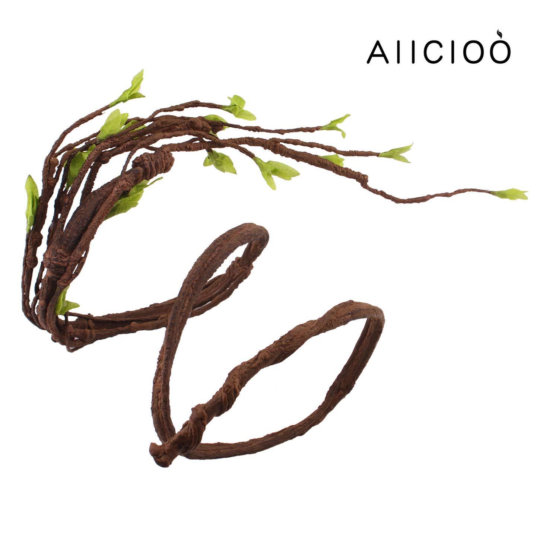 Aiicioo Jungle Vine pour Terrarium/Vivarium Branches Décoratives pour Ccaméléon/Serpent / Grenouilles Branches Brun avec Feuilles Coupe-Ventouse fourni-140cm