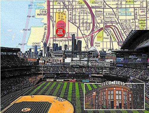 (Baseball, Seattle T-Mobile Park, home of the Mariners, souvenir fine art print, original map print, 8.5