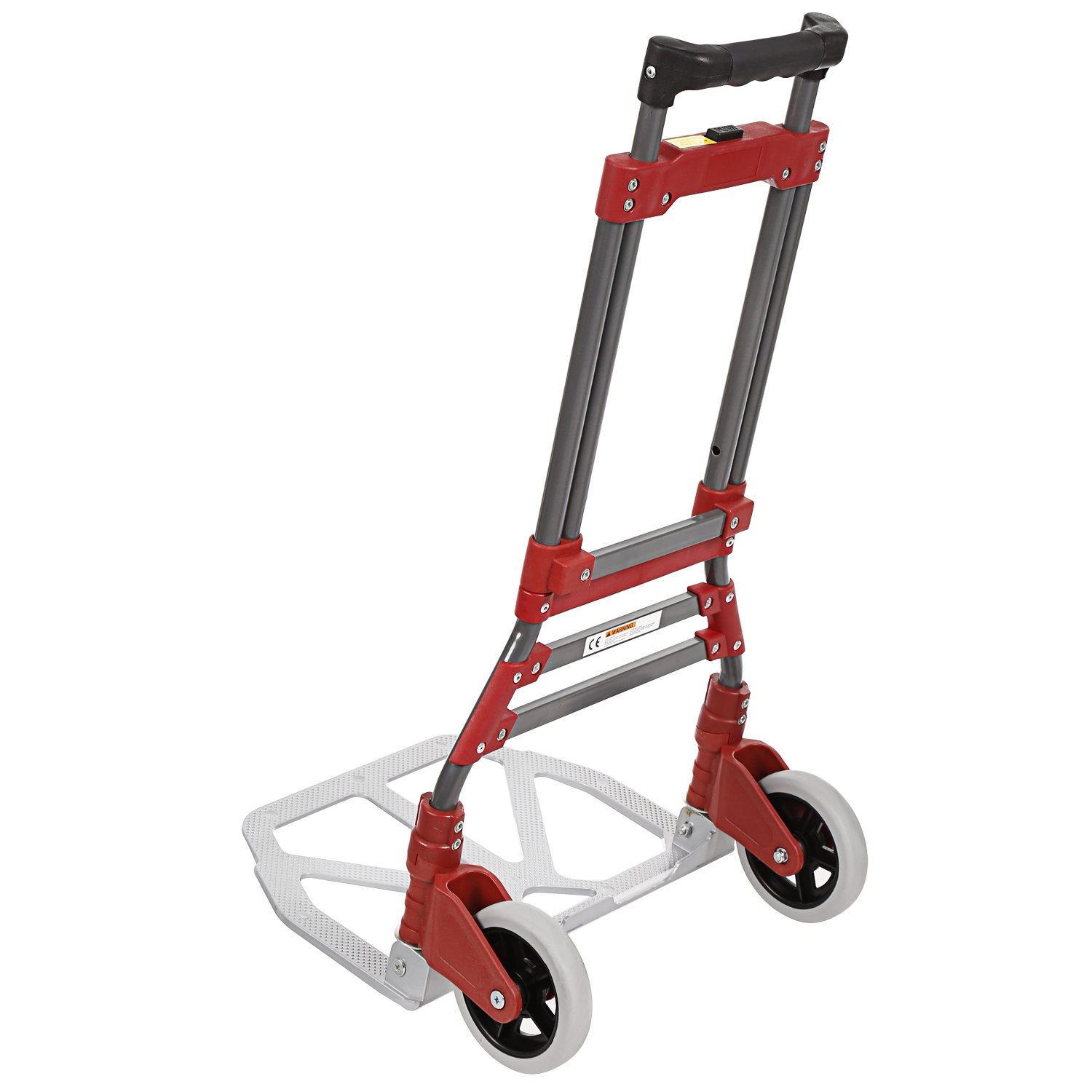 Bluefringe Folding Hand Truck 165lbs Capacity,Adjustable Aluminum Folding Hand Cart with Two PU Rubber wheels and Black Bungee Cord Included