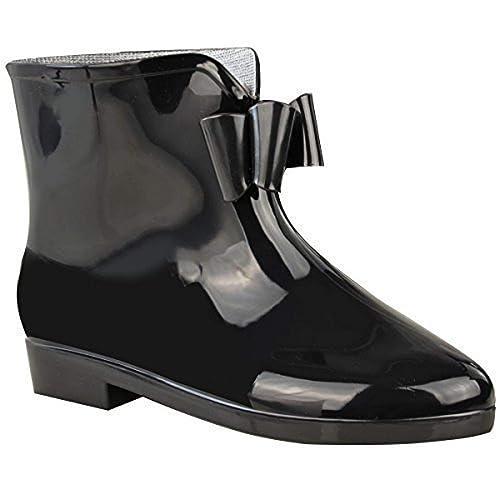 Mujer Negro Botas agua mujer LAZO Wellington Tobillo Nieve Lluvia Botas: Amazon.es: Zapatos y complementos