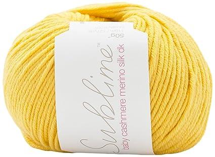 quality design afde6 912d3 Sublime - Gomitolo di lana cachemire e merino, filato leggermente cardato,  per capi in maglia per neonati, filato, Rubber Duckie (559), 10 x 10 x 5 cm