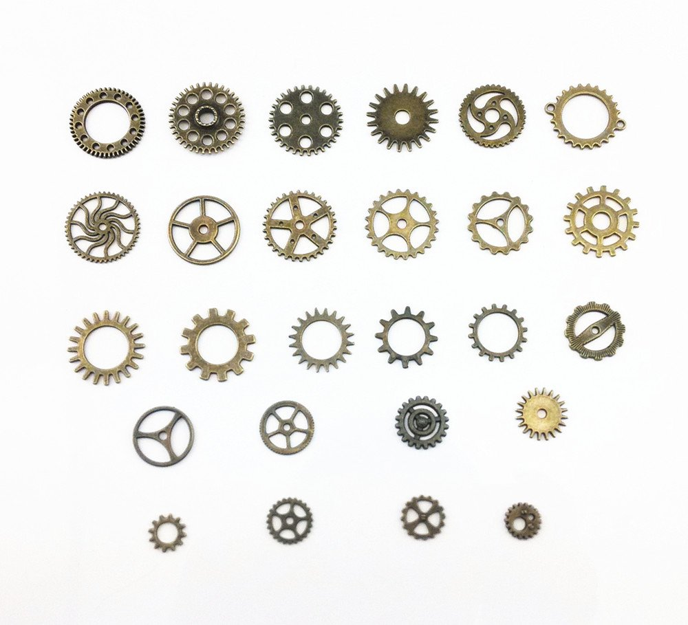 Yueton 100 Gram (Approx 70pcs) Antique Steampunk Gears Charms Clock Watch Wheel Gear for Crafting 4