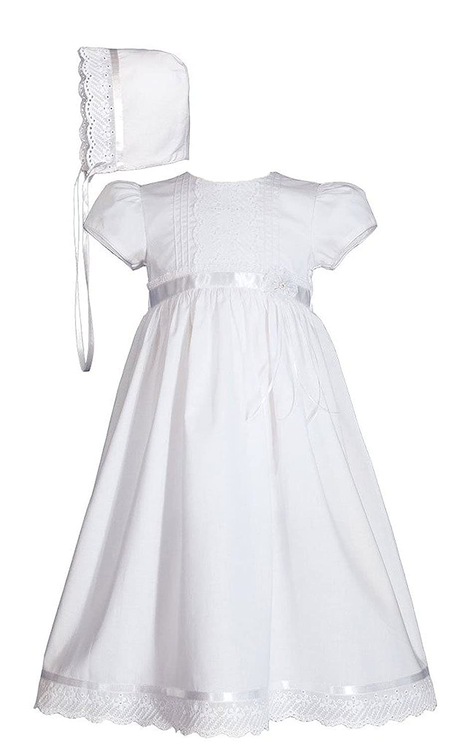 Girls Special Occasion 24 Cotton Christening Baptism Gown with Pin Tucking Lace and Ribbon