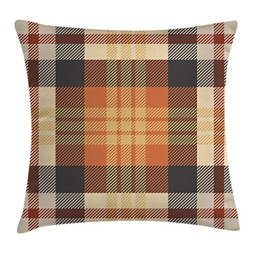 Ambesonne Abstract Decor Throw Pillow Cushion Cover by, Nostalgic Plaid Motif with Stripes Classic Checkered Celtic Fashion Design, Decorative Square Accent Pillow Case, 20 X 20 Inches, Orange Beige ()