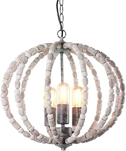 Eumyviv Wood Beads Chandelier Metal Frame Spherical Pendant Light, Industrial Edison Vintage Hanging Light Fixture Retro Rustic Ceiling Light Luminaire 3-Lights, Gray White 17101