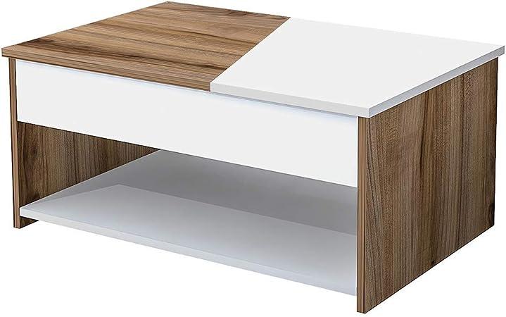 Metallo Bianco 121 x 60 x 30 cm Truciolare Melaminico Homemania Tavolino da caff/è