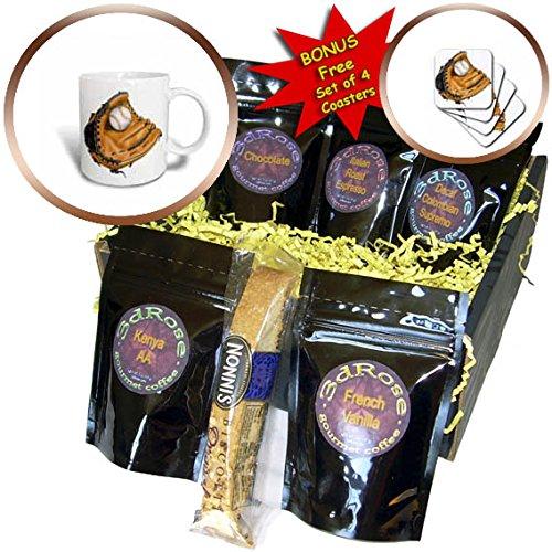 Baseball Illustrations (3dRose Anne Marie Baugh - Illustrations - Orange Baseball Mitt and Baseball Illustration - Coffee Gift Baskets - Coffee Gift Basket (cgb_267620_1))