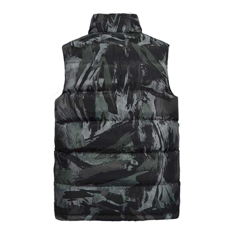 Kuncg Légère Camouflage Gilet Matelassé sans Manche Homme Veste de Chaud Hiver Gilet Armée Verte