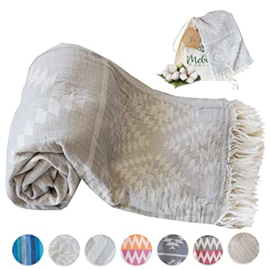 Mebien Turkish Beach Bath Towel-Vintage Design Light Grey Luxury peshtemal for spa Pool Bathroom Sand Free%100 Cotton Blanket Towels Set, Gift for Women Sizes: 33x66 inches