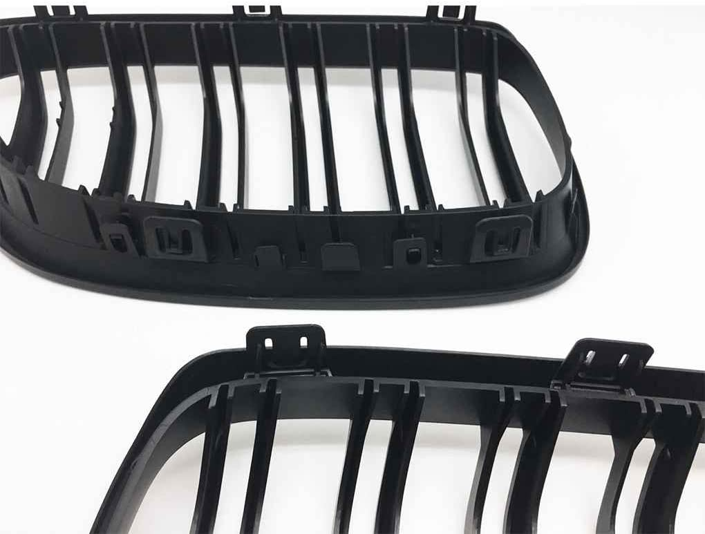 Demino 1 Pair Front Kidney Grille For BMW 3 Series E92 E93 2 Door 2006-2009 Double Slat Line Matte Black Front Bumper Grill