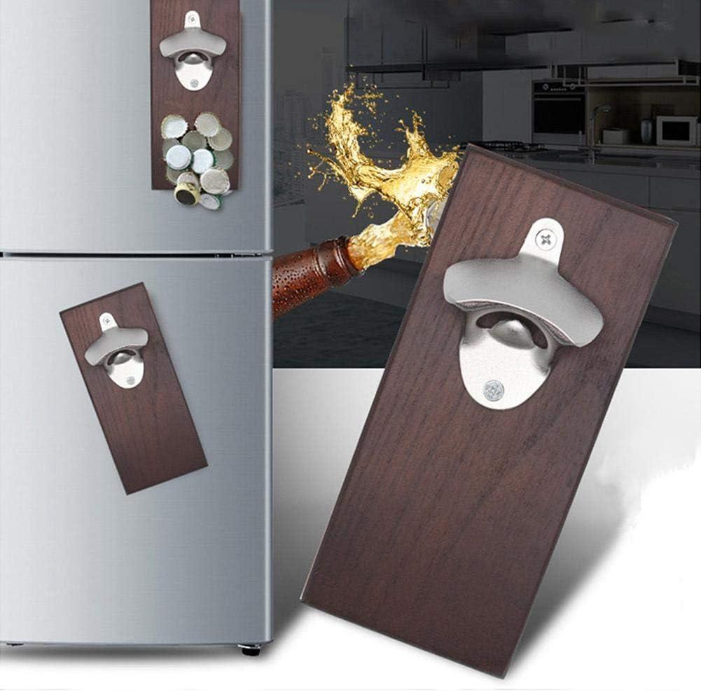 Joyfor, Magnetic Bottle Opener Wall Mount Fridge Magnet Beer Cap Catcher Kitchen Tool