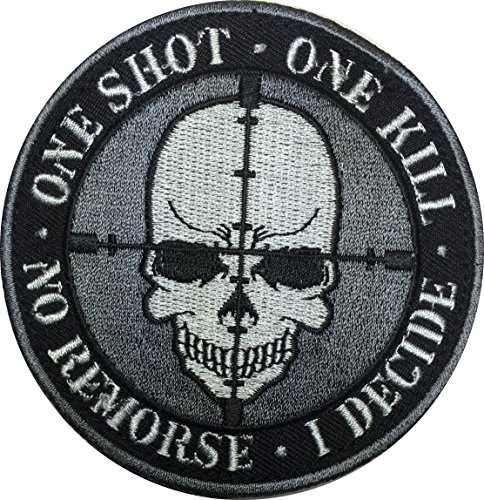 [Patch Squad Men's One Shot One Kill Skull No Remorse Embroidered Patch] (Daryl Dixon Costumes)