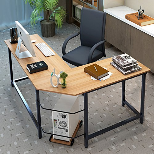 Tribesigns Modern L-Shaped Desk Corner Computer Desk PC Latop Study Table Workstation Home Office Wood & Metal (Light Walnut Brown) ()