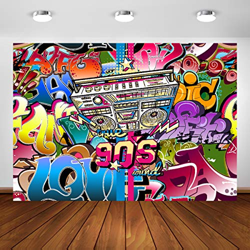 90s Backdrop Hip Hop Theme Party Decorations 7x5ft Vinyl Graffiti Photo Studio Background Props 90th Portrait Booth Banner -