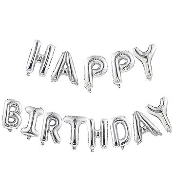 Ballon-Girlande HAPPY BIRTHDAY in Silber mit 5 Ballon Buchstaben á 35cm...