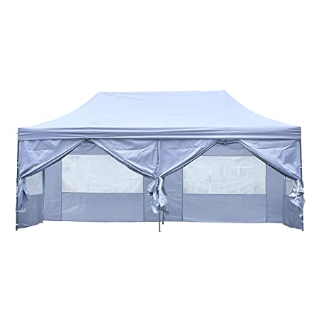 KOOLWOOM 10×20 FT Pop up Canopy Carport,Party Tent Folding Heavy Duty Gazebo with Removable Sidewalls and Wheeled Bag Waterproof White with 6 Sidews