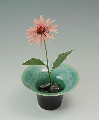 Ikebana Style Vase in Metallic Green, Low Profile Flower Arranger, Ikebana Flower Arranger