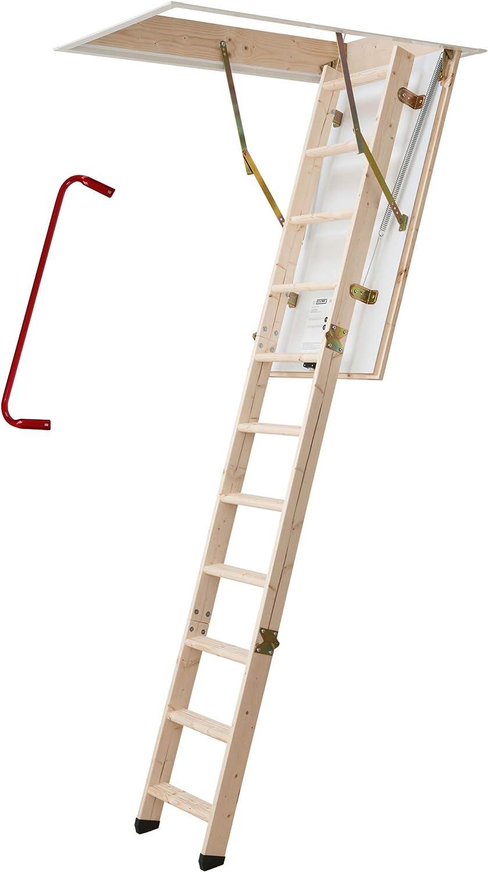Dolle escalera escamoteable, escalera de altillo, termoaislante, 120 x 60 cm, escalera de 3 tramos para estancia con una altura libre de hasta 285 cm. Valor U 1.30. Incluye: Varilla de apertura