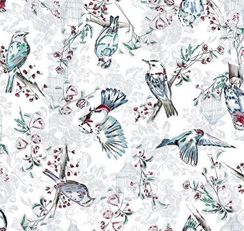 WATERCOLOUR BIRDS FLOWERS WHITE GREY BLUE PVC OIL CLOTH SOLD BY THE YARD ()