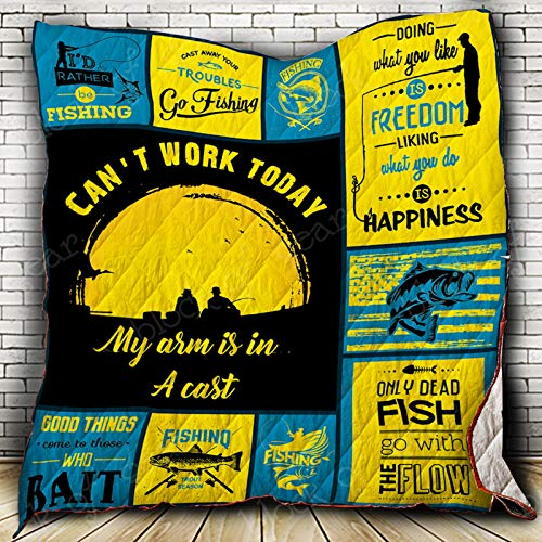 I'd Rather Be Fishing Quilt SS168, Twin All-Season Quilts Comforters with Reversible Cotton King/Queen/Twin Size - Best Decorative Quilts-Unique Quilted for Gifts