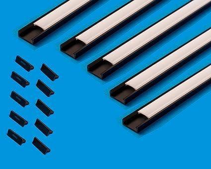 10 m (5CS X 6.6 ft/2 M) LED Profil Slim Halsband Kanal mit Milky Cover Profil 16 x 7 mm für Strip Beleuchtung Kanal PVC Profi