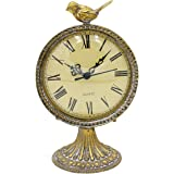 Funly mee Vintage Pewter Table Clock with Cute Bird,Antique Gold