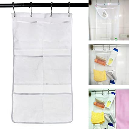 Mesh Bath Organizer Large Quick Dry Shower Caddy With 6 Clear Storage Pockets