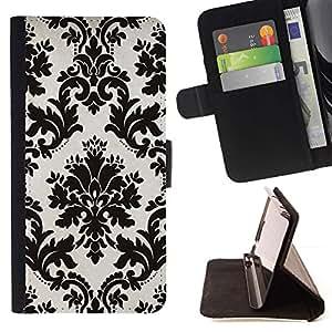 For HTC One M9 Case , Blanco negro con clase del papel pintado floral del vintage- la tarjeta de Crédito Slots PU Funda de cuero Monedero caso cubierta de piel