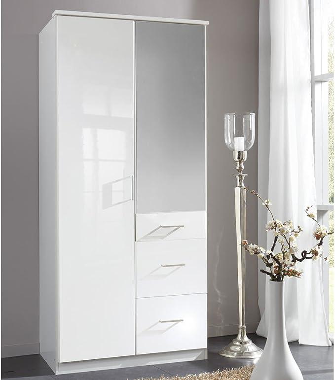 Weisser Kleiderschrank mit Spiegel 90 cm