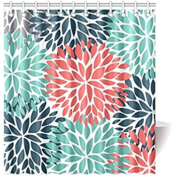 InterestPrint Dahlia Pinnata Flower Teal Coral Gray Decor Waterproof Polyester Bathroom Shower Curtain Bath Decorations With