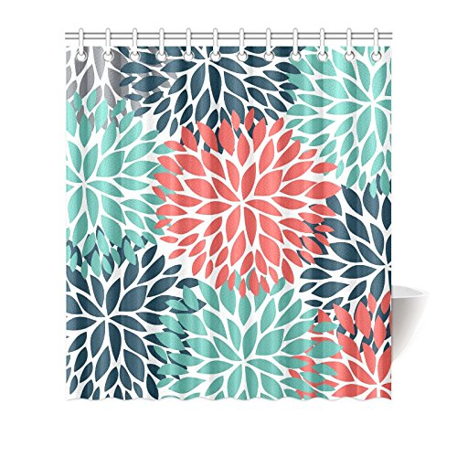 InterestPrint Dahlia Pinnata Flower Teal Coral Gray Decor Waterproof Polyester Bathroom Shower Curtain Bath Decorations with Hooks, 66 x 72 Inches