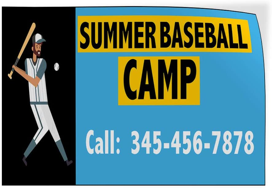 Custom Door Decals Vinyl Stickers Multiple Sizes Summer Baseball Camp Phone Number Business Camp Outdoor Luggage /& Bumper Stickers for Cars Light-Blue 42X28Inches Set of 5