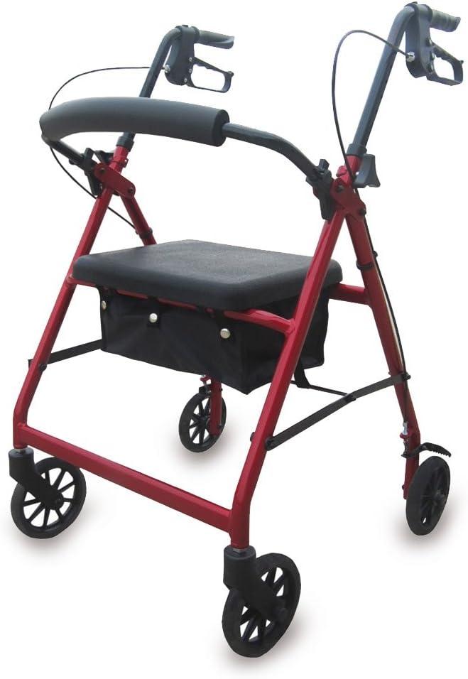 Queraltó Andador Rollator para Ancianos Plegable, Regulable en Altura de 78 a 93 cm, con Asiento y Respaldo, Rojo