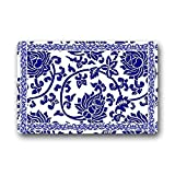 blue and white kitchen Heymats Chinese Blue-And-White Doormat Outdoors/Indoor Machine Washable Home Floor Mats Rugs 23.6 x 15.7 Inches