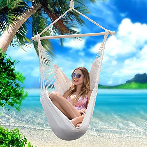 Y- STOP Hammock Chair Hanging Rope Swing - Max 320 Lbs - 2 Seat Cushions Included - Quality Cotton Weave for Superior Comfort & Durability (Beige)