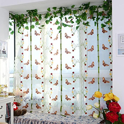 Price comparison product image PHOTNO Pastoral Tulle Window Roman Curtain Embroidered Sheer For Kitchen Living Room The Bedroom Window Screening (B)