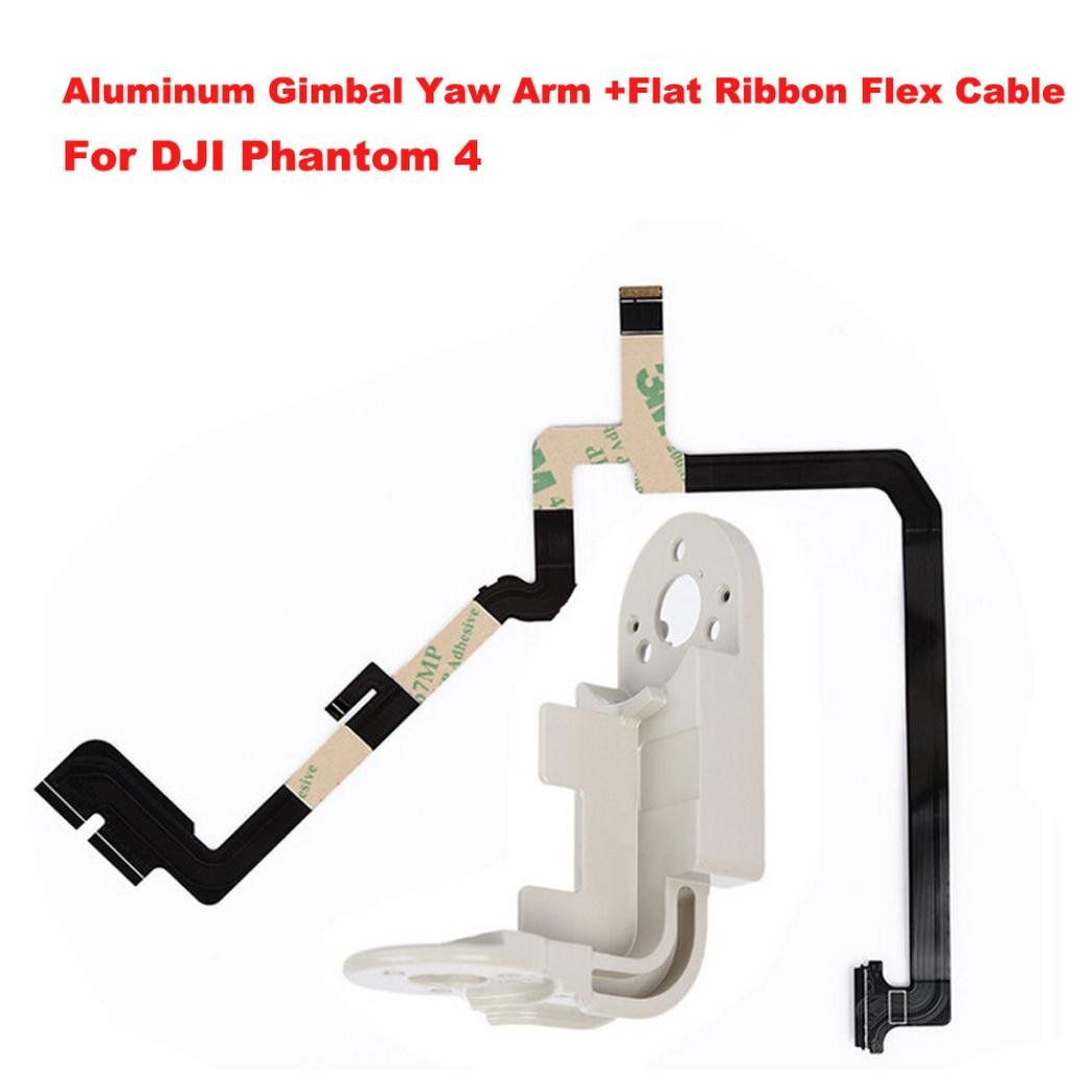 Dreamyth New Aluminum Gimbal Yaw Arm +Flat Ribbon Flex Cable For DJI Phantom 4 Replacement Durable (White)