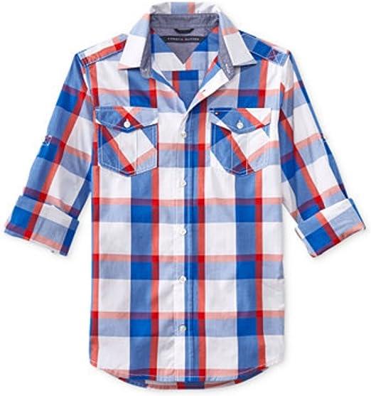 Tommy Hilfiger para niño cuadriculado colour blanco y rojo camisa de manga larga colour azul 152-164: Amazon.es: Bebé