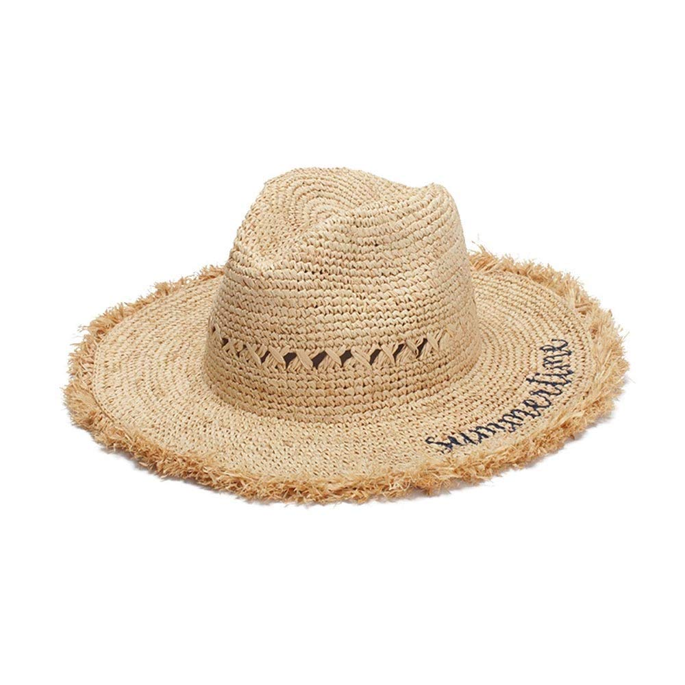 For women's hats Hat Hipster Sun Hat Lafite Visor Hat Beach Hat Hand Hook Letters Embroidery Wild Men And Women (Color : Light Khaki, Size : 56-58CM) by ZHENGYIXIA HAT