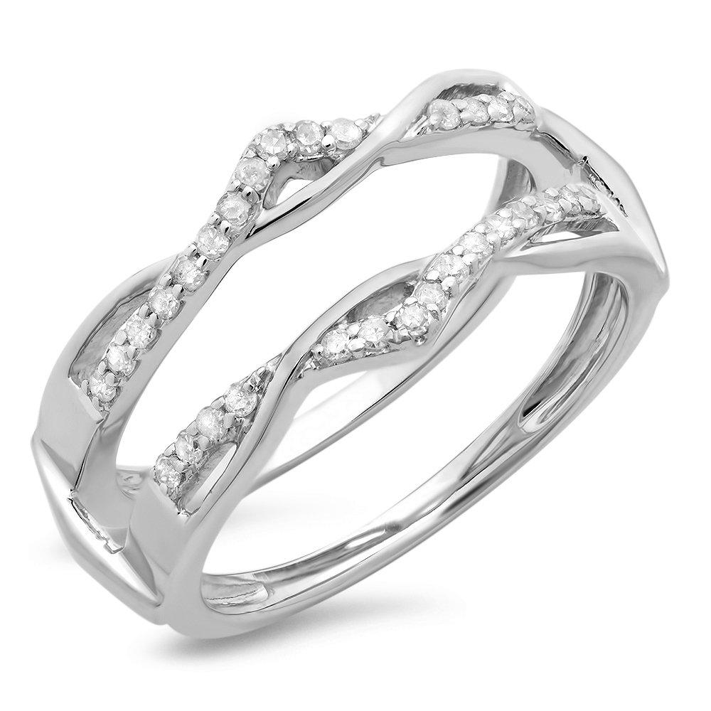 Dazzlingrock Collection 0.25 Carat (ctw) 14K Round Diamond Ladies Wedding Enhancer Guard Double Ring 1/4 CT, White Gold, Size 7