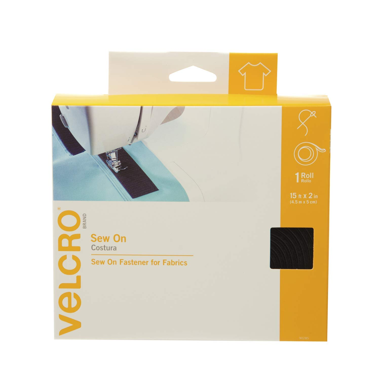VELCRO Brand For Fabrics | Sew On Fabric Tape for Alterations and Hemming | No Ironing or Gluing | Ideal Substitute for Snaps and Buttons | Tape, 15ft x 2in, Black by VELCRO Brand